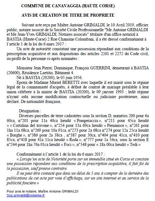 Avis de création de titre de propriété - commune de Canavaggia (Haute-Corse)