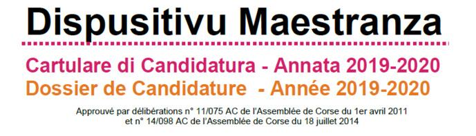 Dispusitivu Maestranza - cartulare di candidatura - annata 2019-2020