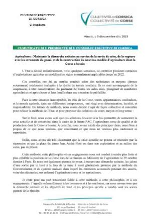 """Communiqué du Président du Conseil exécutif de Corse sur la situation agricole : """"Maintenir la démarche unitaire au service de la sortie de crise"""""""