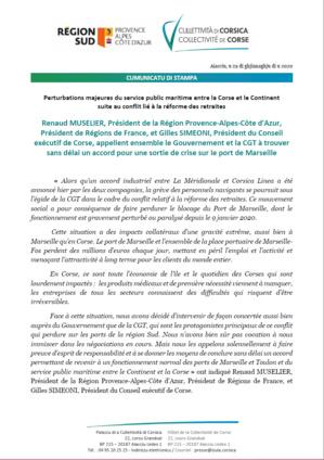 Port de Marseille - Renaud Muselier et Gilles Simeoni appellent ensemble à une sortie de crise