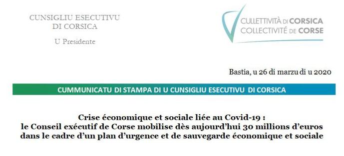 Crise économique et sociale liée au Covid-19 : le Conseil exécutif de Corse mobilise dès aujourd'hui 30 millions d'euros dans le cadre d'un plan d'urgence et de sauvegarde économique et sociale