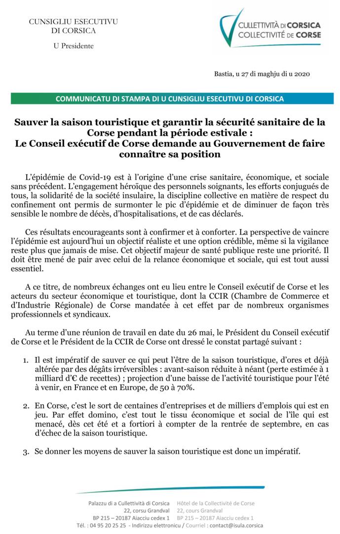 Sauver la saison touristique et garantir la sécurité sanitaire de la Corse pendant la période estivale :  Le Conseil exécutif de Corse demande au Gouvernement de faire connaître sa position