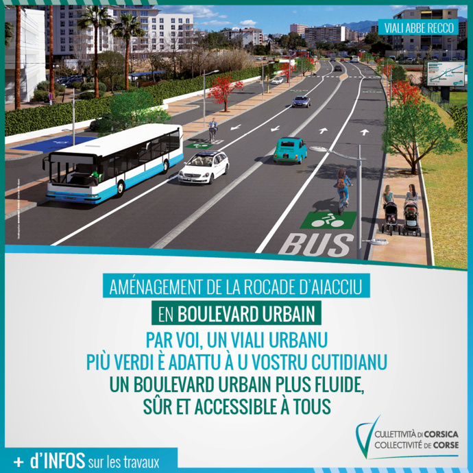 Info Routes CdC - ​Travaux de requalification de la rocade d'Aiacciu : travaux nocturnes boulevard Costa