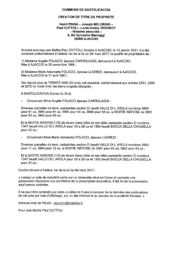 Avis de création de titre de propriété-Commune de Bastelicaccia (Corse-du-sud)