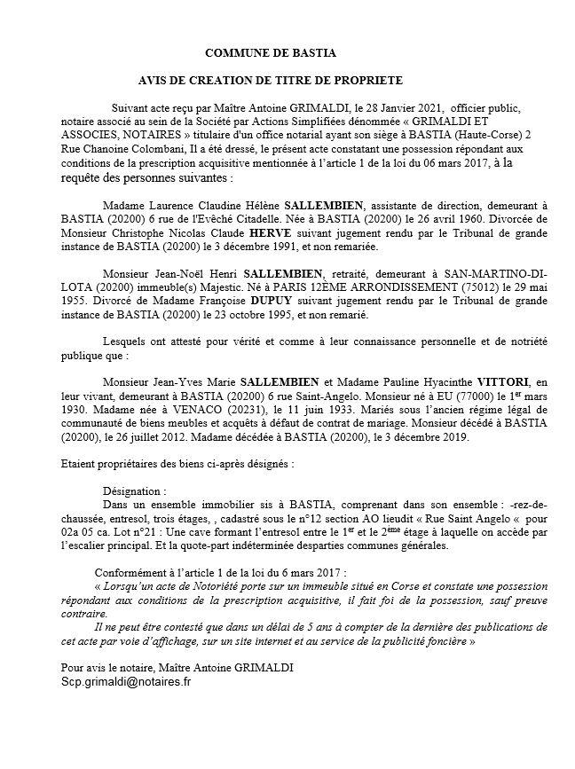 Avis de création de titre de propriété - commune de Bastia (Haute Corse)