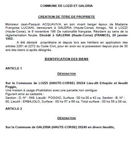 Avis de création de titre de propriété - commune de Lozzi et Galéria (Haute Corse)