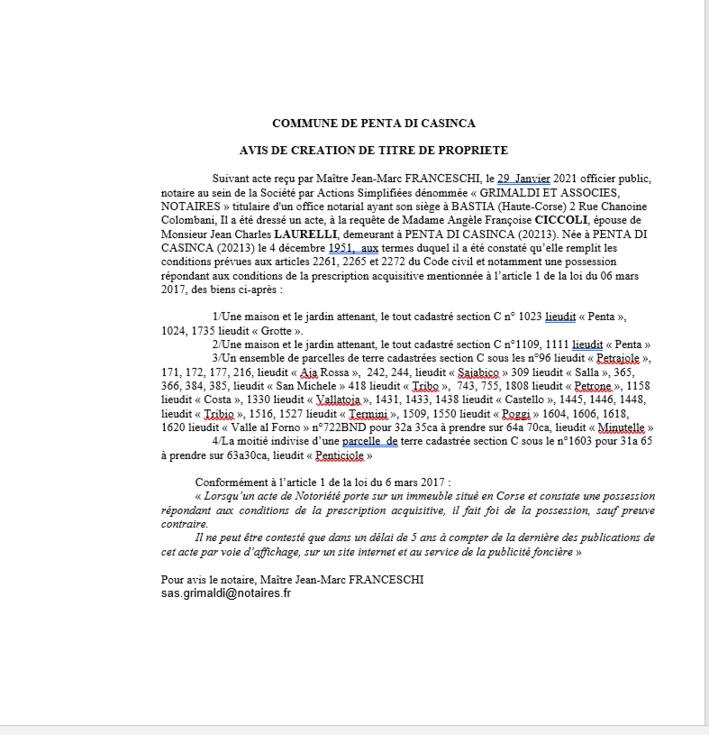Avis de création de titre de propriété - Commune de Penta di Casinca (Haute-Corse)