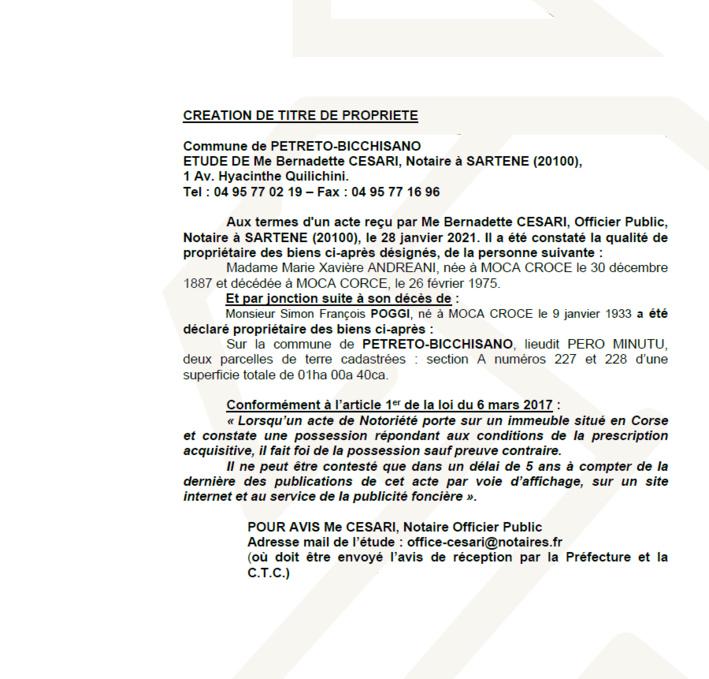Avis de création de titre de propriété - Commune de Petreto Bicchisano (Corse-du-Sud)