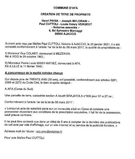 Avis de création de titre de propriété - commune d'Afa (Corse du Sud)