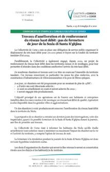 Travaux d'amélioration et de renforcement du réseau haut débit : pas de fermeture de jour de la Scala di Santa R'ghjina