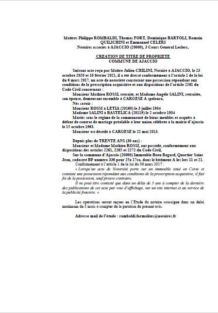 Avis de création de titre de propriété - Commune d'Ajaccio(Corse-du-Sud)