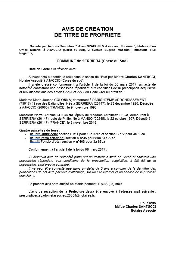 Avis de création de titre de propriété - Commune de Serriera (Corse-du-Sud)