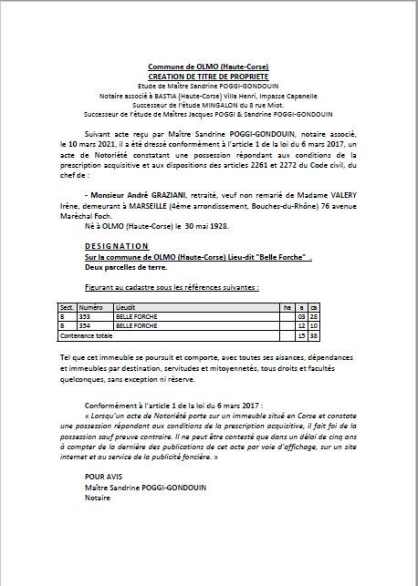 Avis de création de titre de propriété - Commune d'Olmo (Haute-Corse)