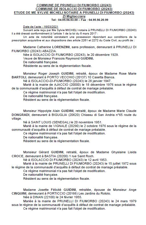 Avis de création de titre de propriété - commune de Prunelli di Fiumorbu (Haute corse)