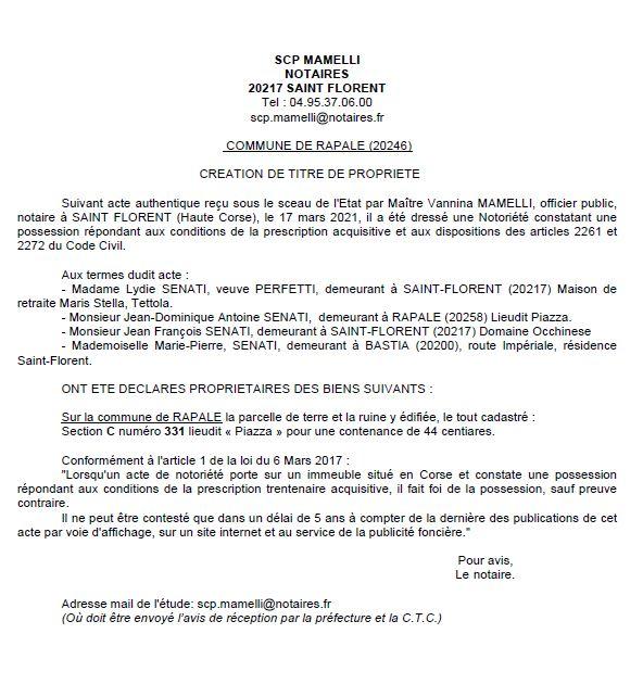 Avis de création de titre de propriété - commune de Rapale (Haute corse)