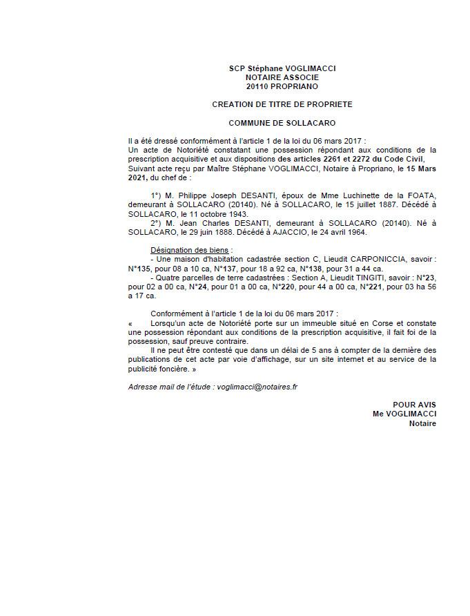 Avis de création de titre de propriété - Commune de Sollacaro ( Corse-du-sud)