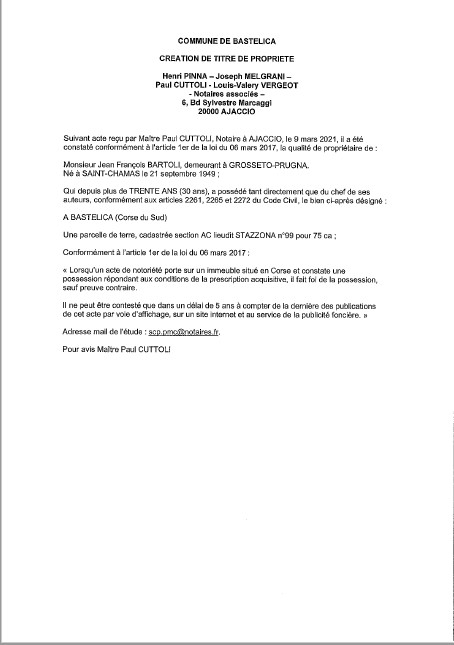 Avis de création de titre de propriété - Commune de Bastelica  ( Corse-du-sud)