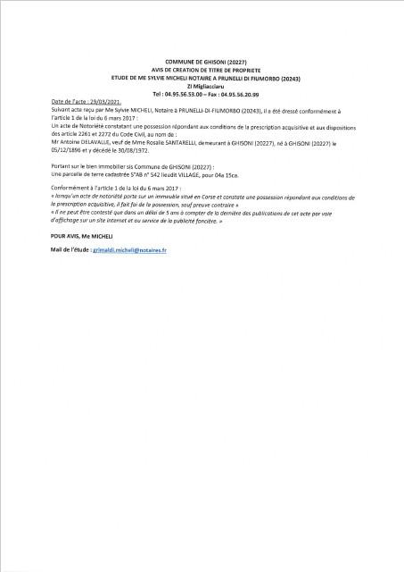 Avis de création de titre de propriété - Commune de Ghisoni (Haute-Corse)