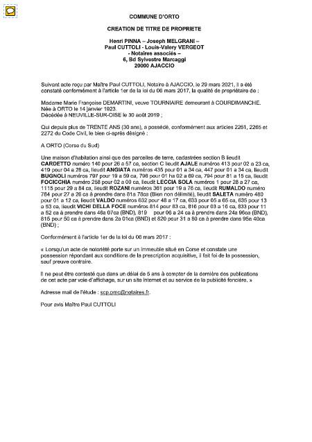 Avis de création de titre de propriété - Commune d'Orto (Corse-du-Sud)