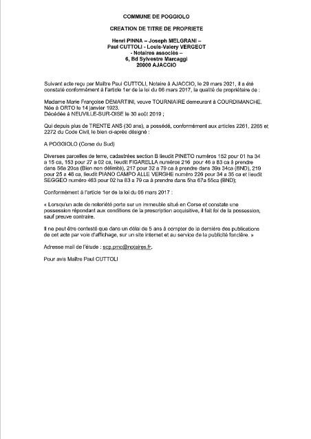 Avis de création de titre de propriété - Commune de Poggiolo (Corse-du-Sud)