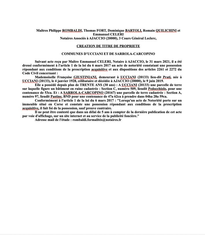 Avis de création de titre de propriété - Communes d'Ucciani et Sarrola-Carcopino Corse-du-Sud)