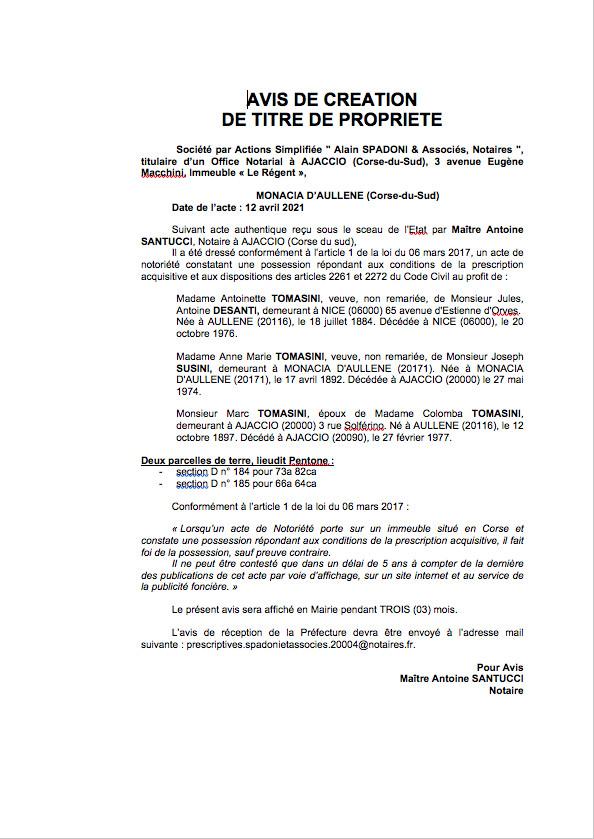Avis de création de titre de propriété - Commune de Monaccia d'Aullene (Corse-du-Sud)