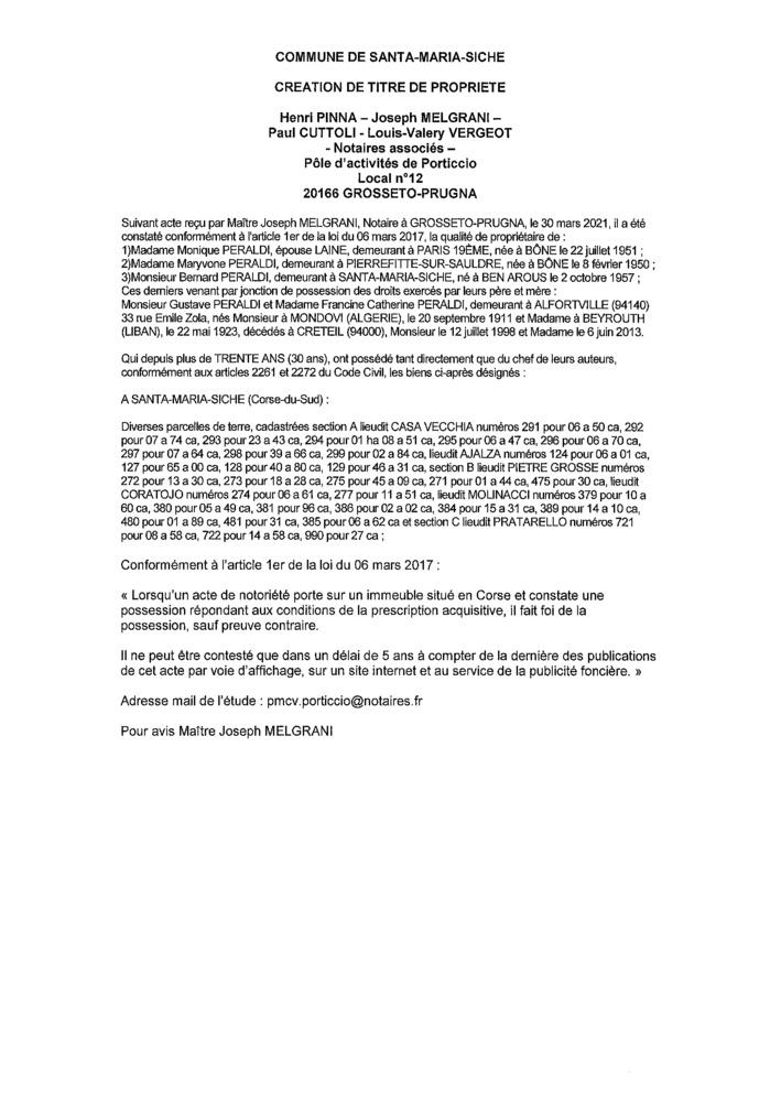 Avis de création de titre de propriété - Commune de Santa-Maria-Sicchè (Corse-du-Sud)