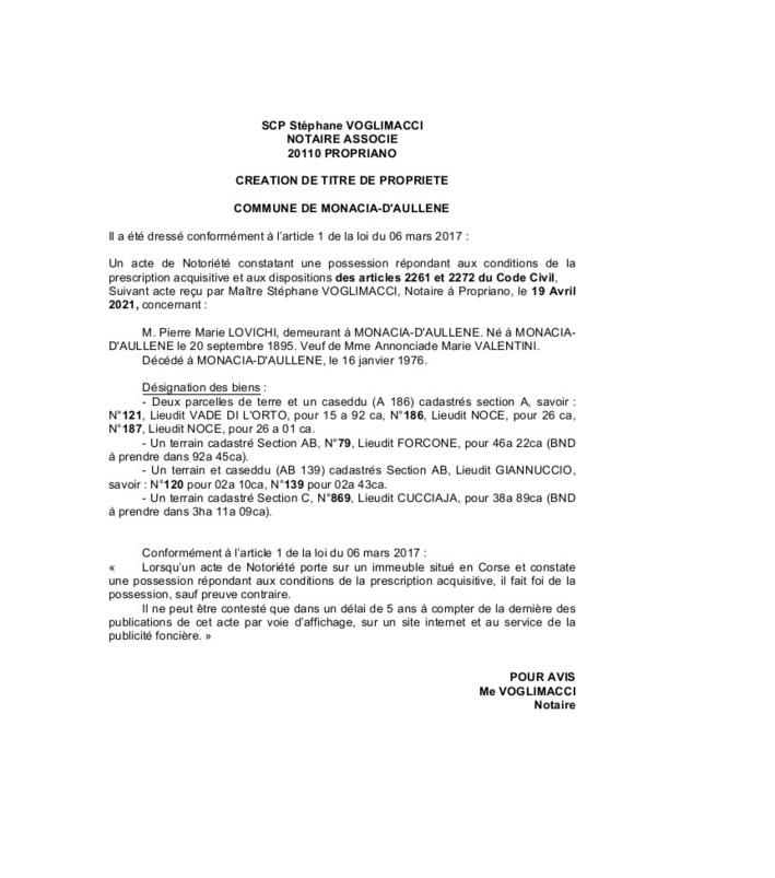 Avis de création de titre de propriété - Commune de Monaccia-D'Aullene (Corse-du-Sud)