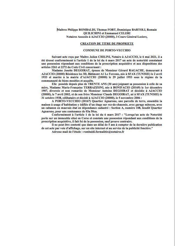 Avis de création de titre de propriété - Commune de Porto-Vecchio (Corse-du-Sud)