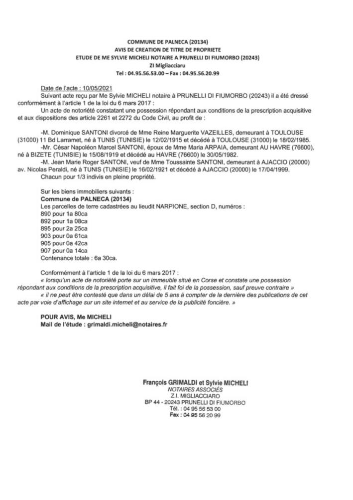 Avis de création de titre de propriété - Commune de Palneca (Corse-du-Sud)