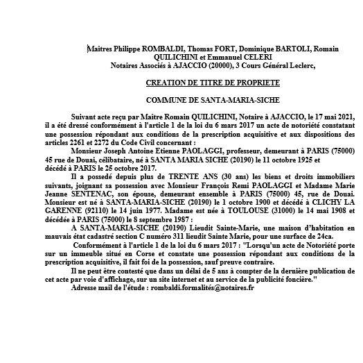 Avis de création de titre de propriété - Commune de Santa-Maria-Siche (Corse-du-Sud)