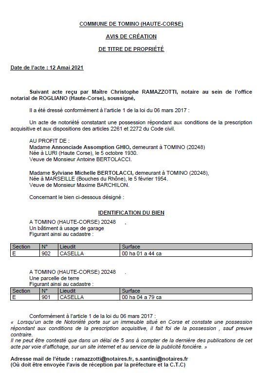 Avis de création de titre de propriété - Commune de Tomino (Haute-Corse)