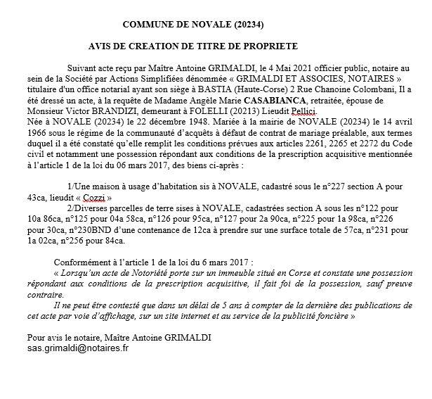 Avis de création de titre de propriété - Commune de Novale (Haute-Corse)