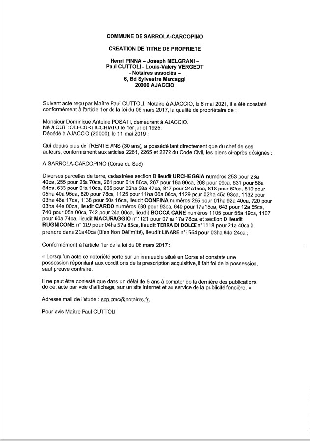 Avis de création de titre de propriété - Commune de Sarrola-Carcopino (Corse-du-Sud)