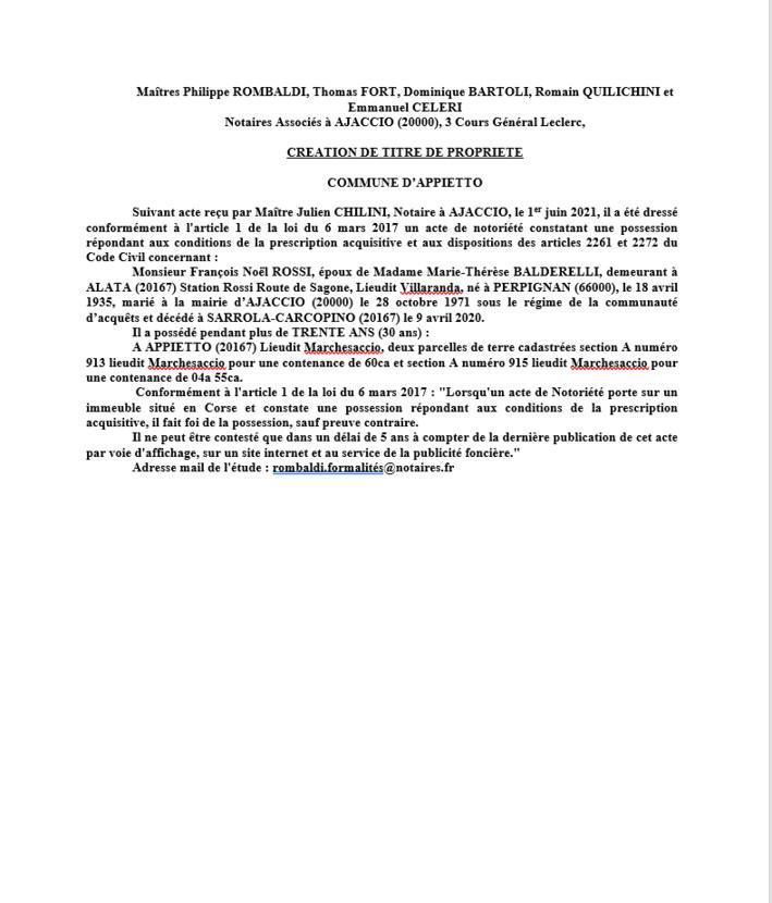Avis de création de titre de propriété - Commune d'Appietto (Corse-du Sud)