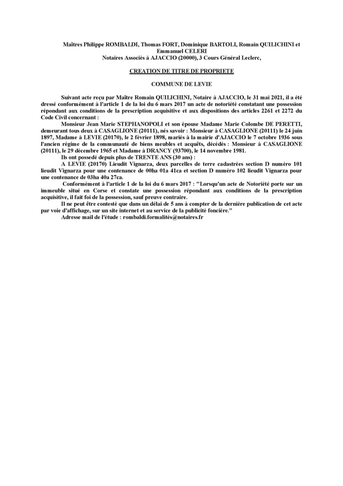 Avis de création de titre de propriété - Commune de Levie (Corse-du Sud)
