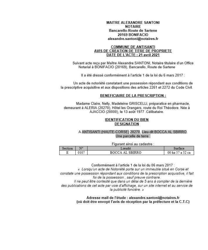 Avis de création de titre de propriété - Commune d'Antisanti (Haute-Corse)