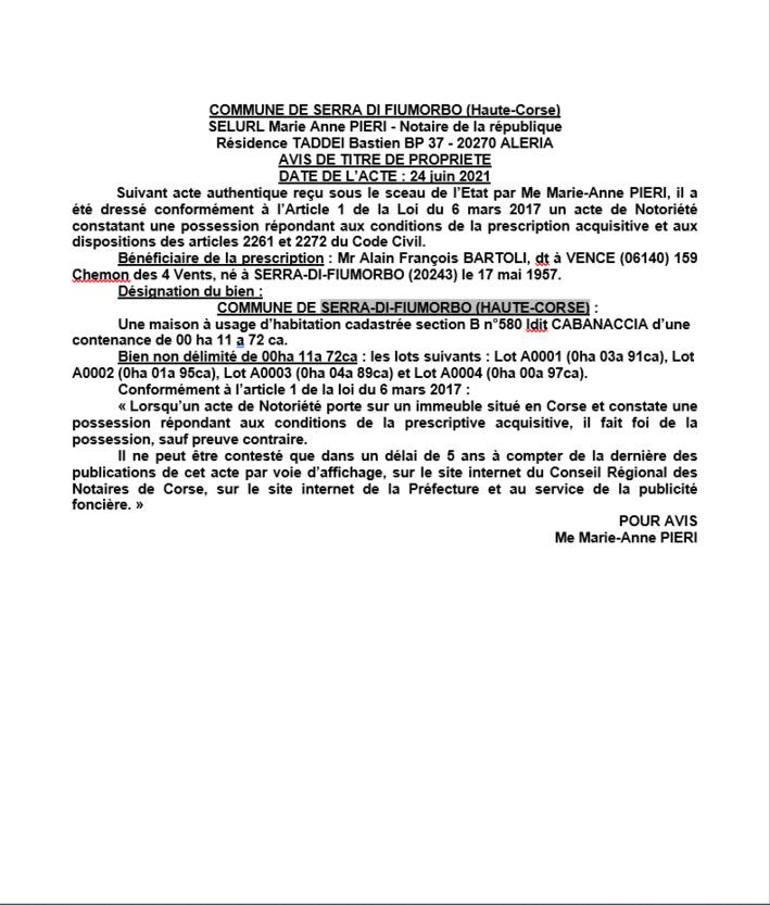 Avis de création de titre de propriété - Commune de Serra-di-Fiumorbo (Haute-Corse)