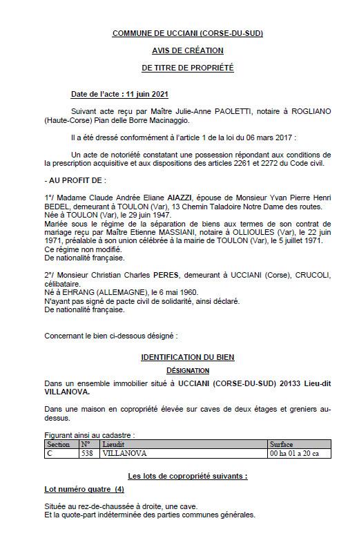 Avis de création de titre de propriété - Commune de Ucciani (Corse-du-sud)