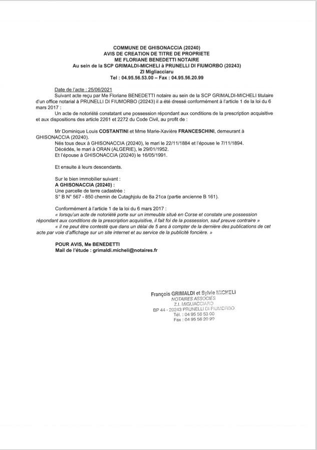 Avis de création de titre de propriété - Commune de Ghisonaccia (Haute-Corse)