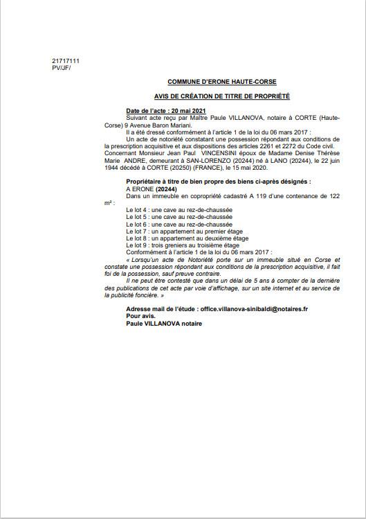Avis de création de titre de propriété - Commune d'Erone (Haute-Corse)