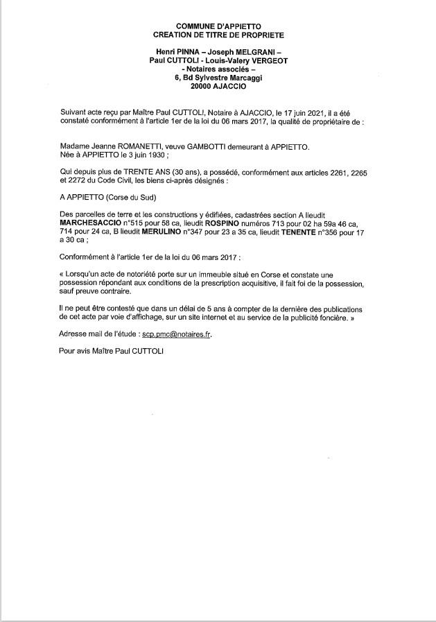 Avis de création de titre de propriété - Commune d'Appietto (Corse-du-Sud)