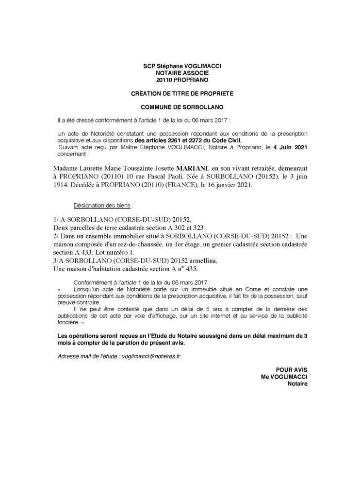 Avis de création de titre de propriété - Commune de Sorbollano (Corse-du-Sud)