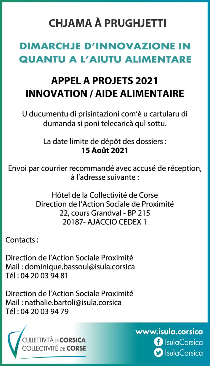 """CHJAMA À PRUGHJETTI """"Innovation - Aide alimentaire"""" 2021"""