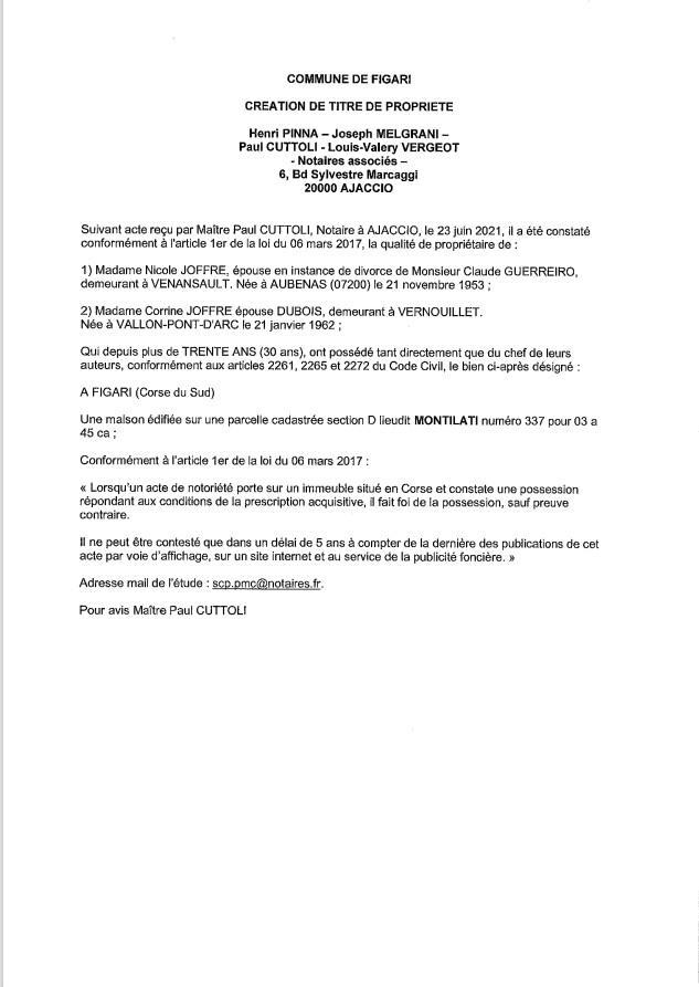 Avis de création de titre de propriété - Commune de Figari (Corse-du-Sud)