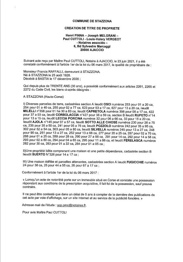 Avis de création de titre de propriété - Commune de Stazzona (Corse-du-Sud)