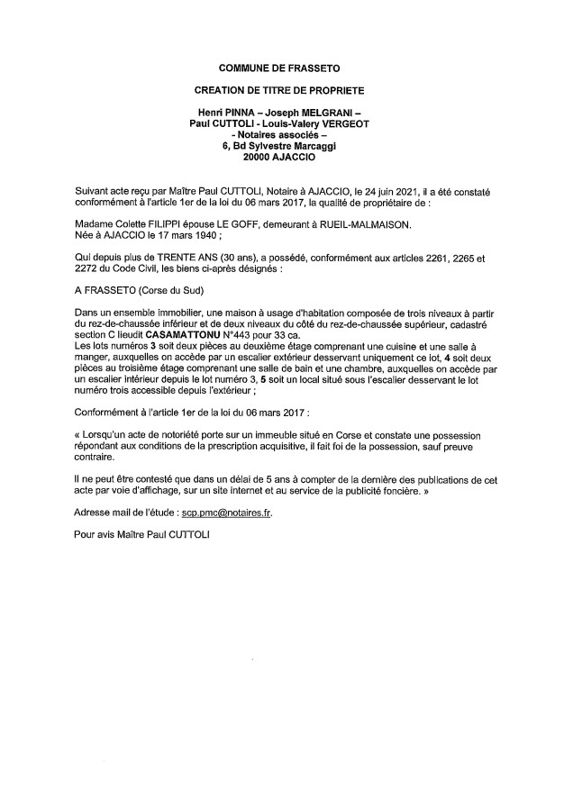 Avis de création de titre de propriété - Commune de Frasseto (Corse-du-Sud)