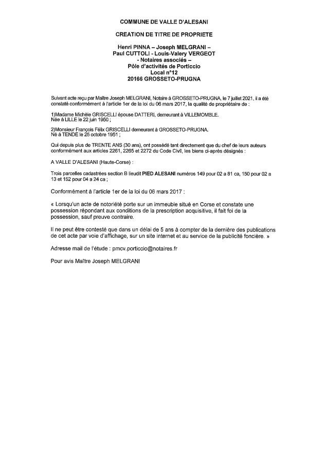 Avis de création de titre de propriété - Commune de Valle d'Alesani  (Haute-Corse)