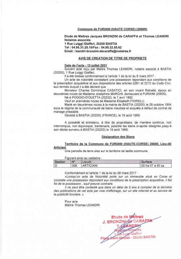 Avis de création de titre de propriété - Commune de Furiani (Haute-Corse)