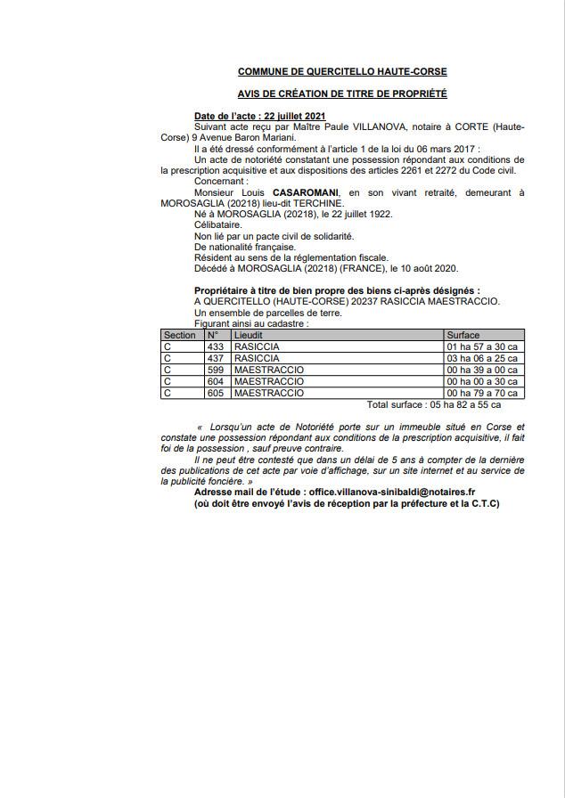 Avis de création de titre de propriété - Commune de Quercitello (Haute-Corse)